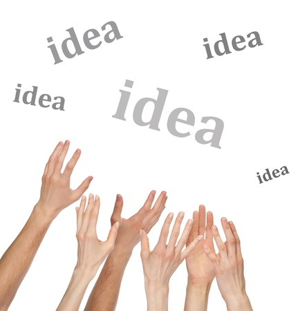 Many hands want to catch a word, you can add your text or picture, isolated over white background Stock Photo - 17958889