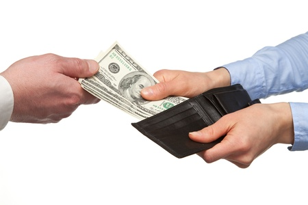 unrecognizable: Paying money from a wallet - closeup shot of hands