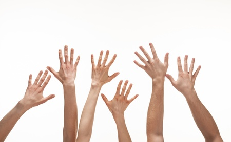 Many hands reaching out in the air, white background, copy space photo