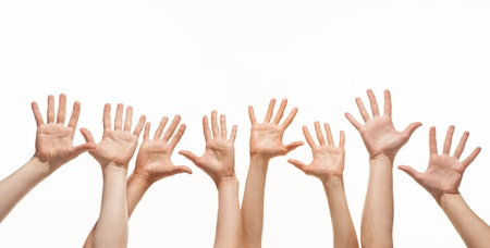 Extend: Many hands reaching out in the air, white background, copy space Stock Photo