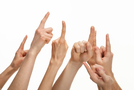 Hands pointing with index fingers at something, copyspace, white background Stock Photo - 18157765