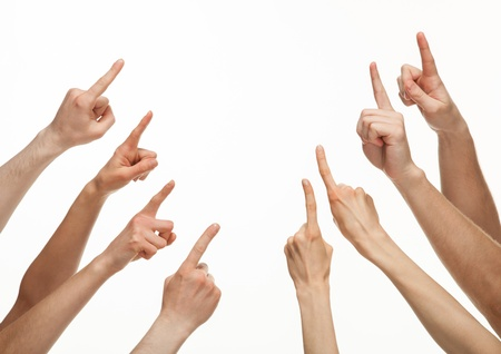 Hands pointing with index fingers at something, copyspace, white background