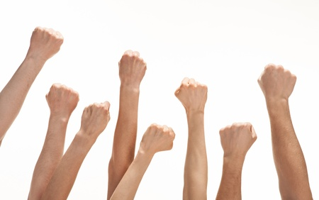 Group of hands (fists) raised up