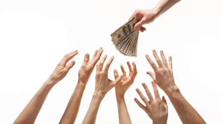 Many hands reaching out for money, white background photo