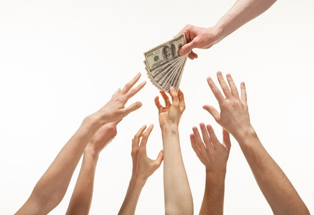 Many hands reaching out for money, white background