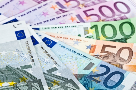 subsidy: Fan made of euro banknotes