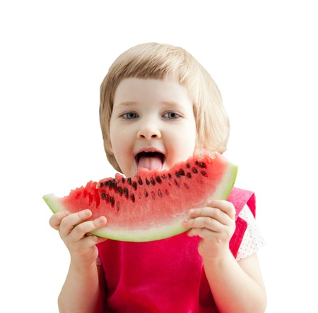 Funny little girl eating big slice of watermelon; isolated on white Stock Photo - 21318917