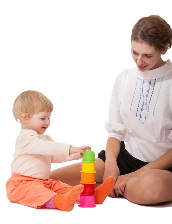 Young mother and her little daughter playing together Stock Photo - 21319028
