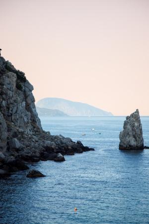 Sea and mountains in Crimea - sunset landscape photo