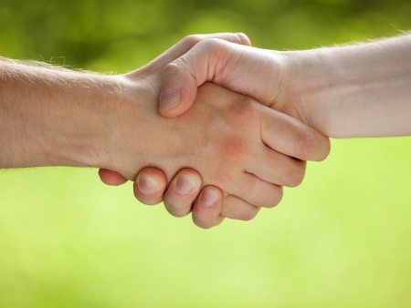 Handshake on light green eco background