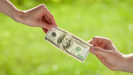 pulling money: Hands pulling dollar banknote on light green background
