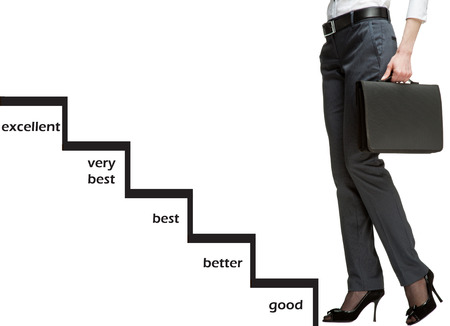 obtain: Career ladder with scale of success: businesswoman starting career, ladder of success concept