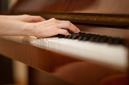 keyboard player: Cloeup of female hands playing the piano Stock Photo