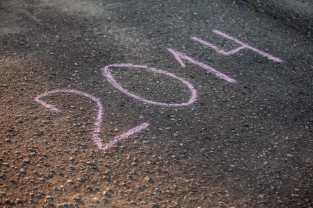 2014 written with chalk on asphalt photo