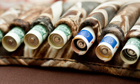 cartridge belt: Currency war between dollar and euro, financial concept Stock Photo