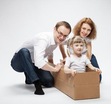 Happy family: studio shot on white background photo