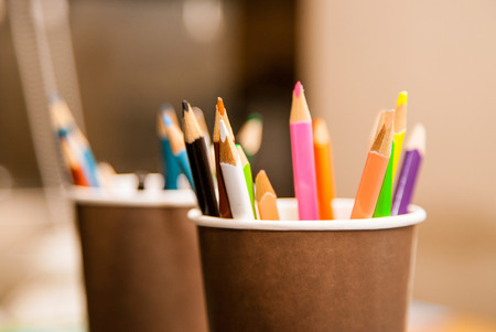Many pencils in a pencil holder photo