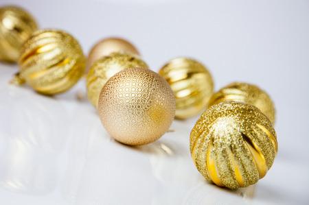 festal: Christmas-tree decorations on neutral background Stock Photo