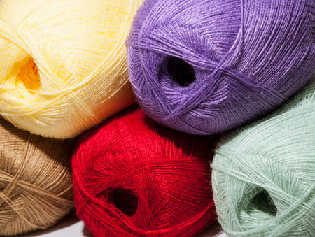 acrylic yarn: Multicolored skeins of yarn background