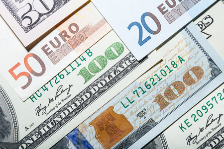 attenuation: Money background - euro and dollars currency