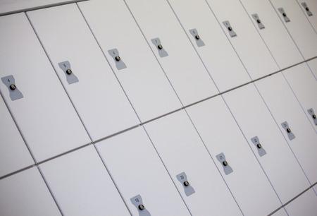 cloakroom: Closeup shot of closed cells in cloakroom