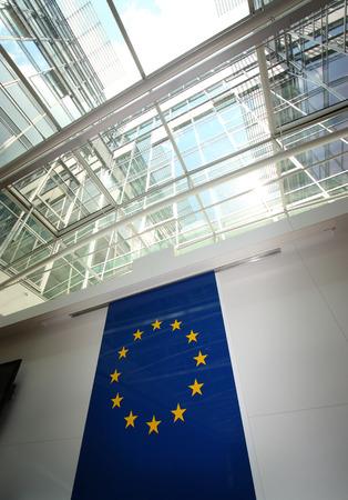 the european economic community: The flag of the European Union in modern center