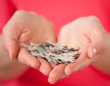 career women: Female hands holding many puzzles - closeup shot Stock Photo