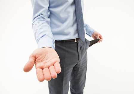 Unrecognizable businessman  asking about help, white background photo