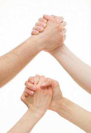 strife: Mani umane dimostrando un gesto di un conflitto o di solidariet�, sfondo bianco Archivio Fotografico