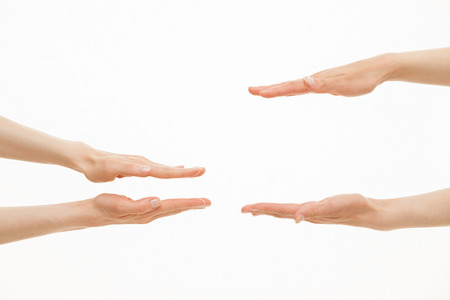 Hands showing different sizes - from small to big, white background