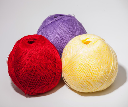 acrylic yarn: Skeins of yarn on neutral background