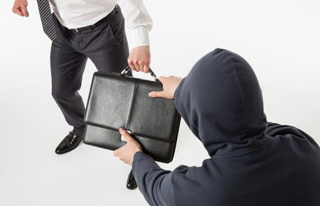 larceny: Unknown man take away a businessmans briefcase, white background