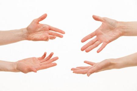 demanding: Human hands demanding something, white background