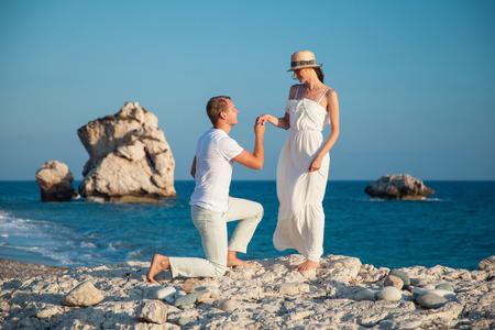 seacoast: Beautiful young couple  on the seacoast, Cyprus