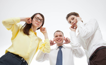 unwillingness: Business people refusing to listen somebody, bottom view