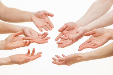 argumentation: Human hands demonstrating a gesture of a discussing, white background