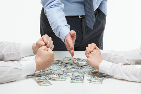 collaborators: Boss dividing money among collaborators, white background