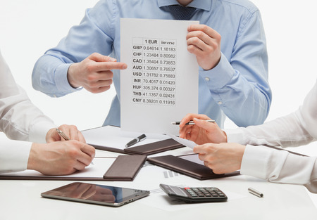 quotations: Business people discussing quotations, closeup shot Stock Photo