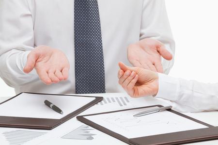 demanding: Businesswoman demanding to return a debt, white background