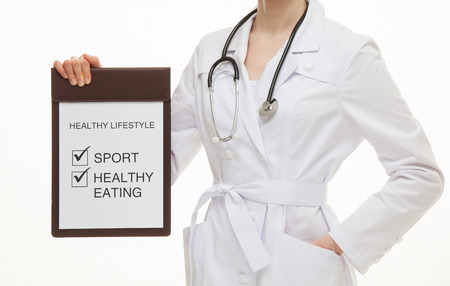 young add: Doctor holding a clipboard and calling to healthy lifestyle , white background