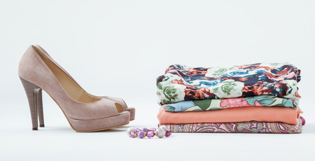tog: Clothes and shoes on white background