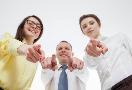 somebody: Business people mocking over somebody, white background Stock Photo