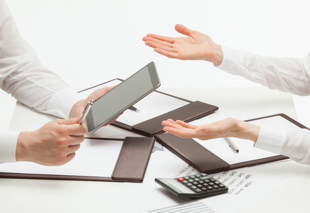 Business people communicating, white background