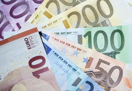 banconote euro: Molte banconote in euro - girato in primo piano Archivio Fotografico