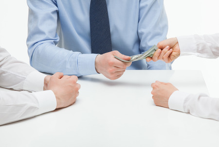 collaborator: Boss giving dollars to collaborator, white background