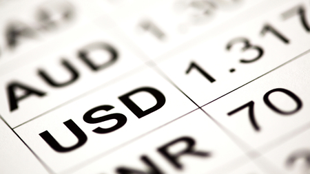 dynamic growth: Currency cross-rate table; focus on USD Stock Photo