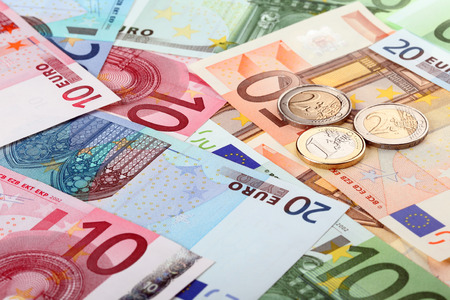 euro banknotes: Different euro banknotes and coins Stock Photo