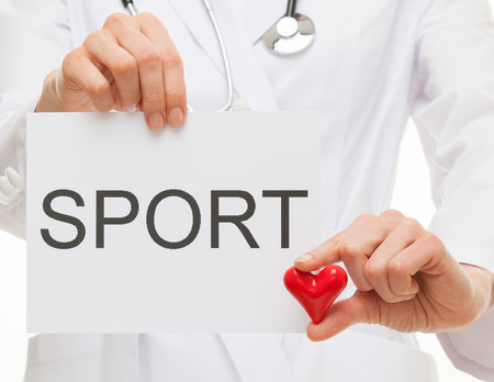 healthy sport: Doctor calling to healthy lifestyle, white background