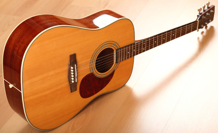 front view: Brown guitar on neutral background; front view Stock Photo