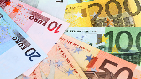 subsidy: Close-up of different euro banknotes Stock Photo